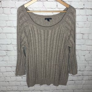 American Eagle Tan Open Knit Sweater Large